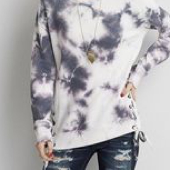 028cef9d3a American Eagle Outfitters Tops - American Eagle Tie Dye Laceup Sweatshirt